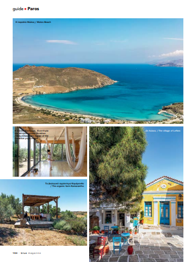 Photo of Blue magazine article - Paros, A Wellness Trip